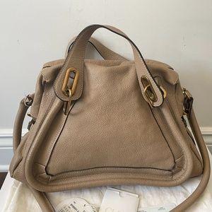 SOLD Chloe Paraty Tote Shoulder Hand Bag Beige